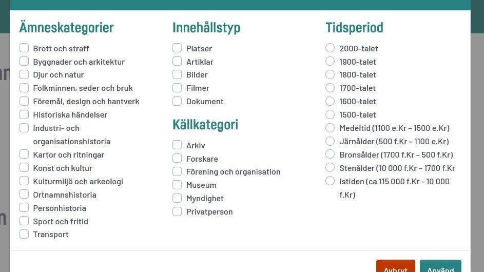 Ett skärmklipp på hur filtreringsfunktionen ser ut för besökaren. Det finns fyra huvudrubriker: ämneskategorier, innehållstyp, källkategori och tidsperiod.